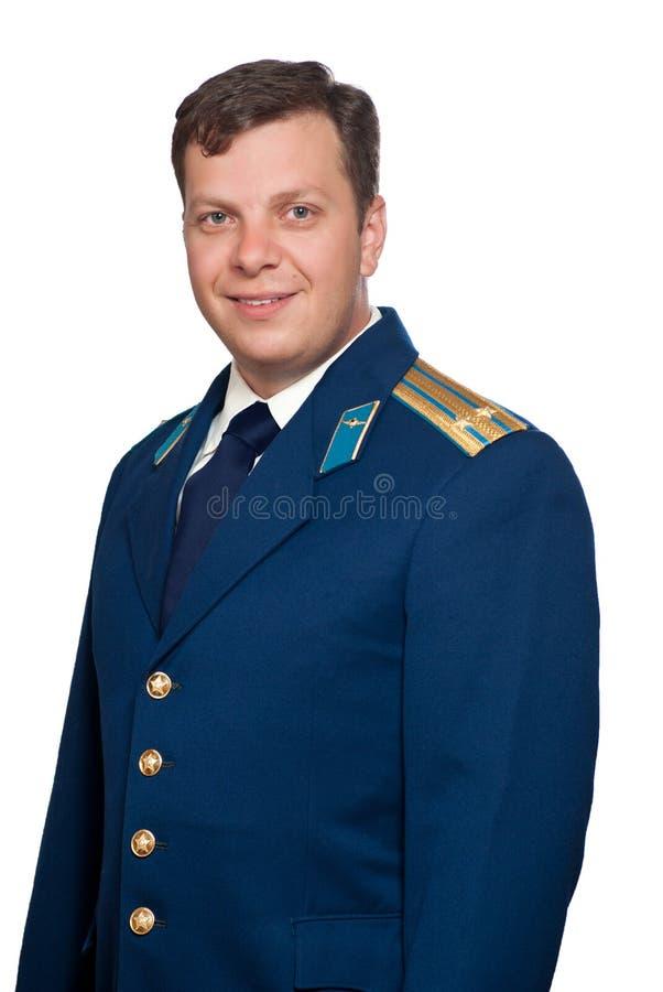 Uomo in uniforme delle aeronautiche militari russe immagini stock
