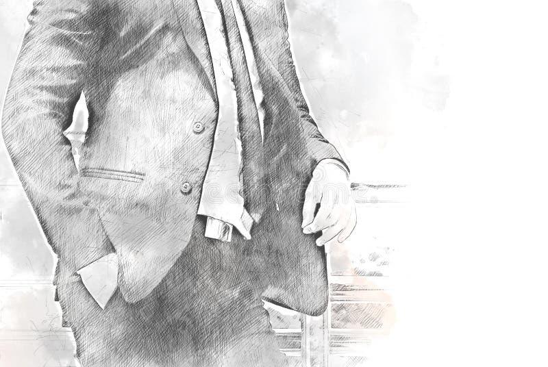 Uomo variopinto di affari di forma dell'estratto sull'acquerello fotografie stock libere da diritti