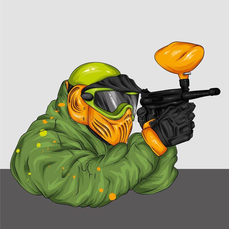 Uomo in vestiti ed accessori per il paintball Fucilazione, armi e pittura Illustrazione multicolore fotografie stock libere da diritti