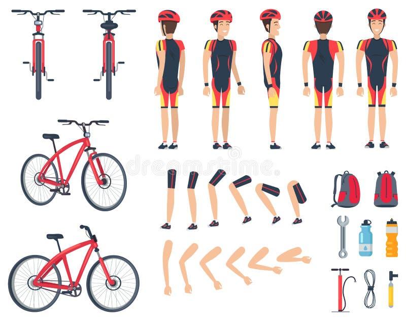 Uomo in vestiti speciali di sport e bicicletta moderna illustrazione vettoriale