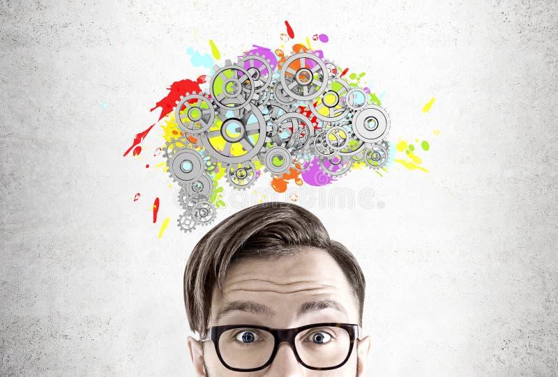 Uomo in vetri, cervello e denti illustrazione vettoriale