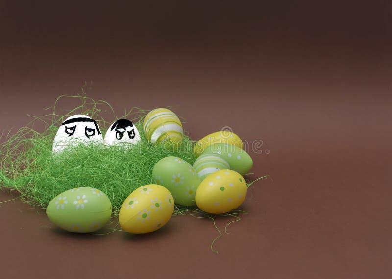 Uova arrabbiate nascoste nell'erba Uova divertenti di Pasqua fotografia stock libera da diritti