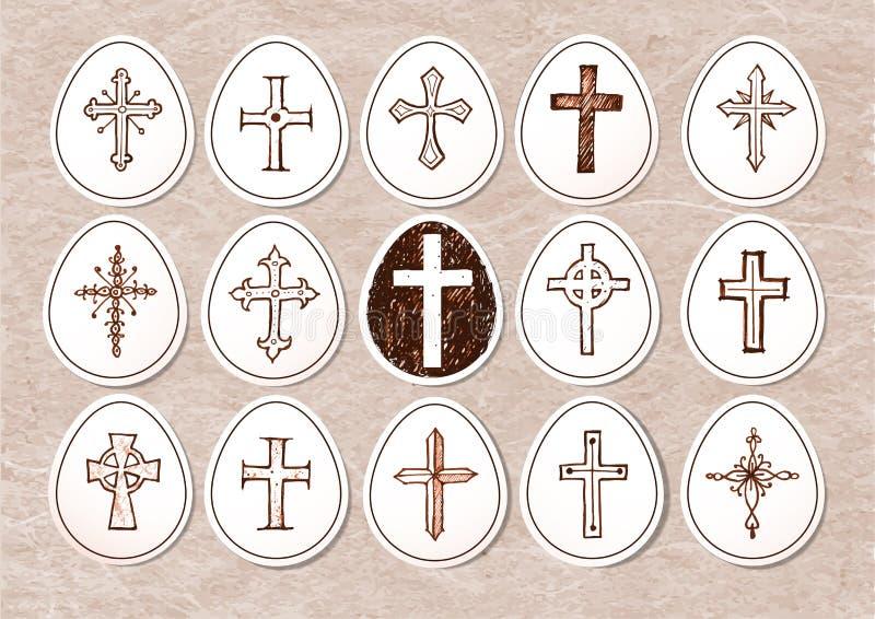 Uova del taglio della carta di Pasqua con l'incrocio Illustrazione di vettore illustrazione di stock
