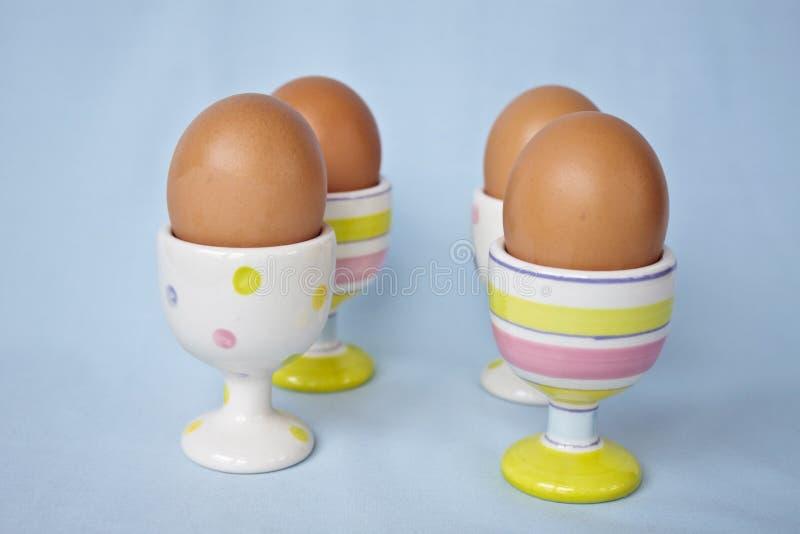 Uova di Brown in i portauova pastelli di primavera. fotografie stock