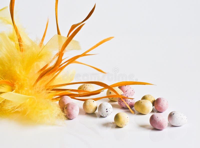 Uova di cioccolato di Pasqua con la piuma gialla fotografia stock libera da diritti