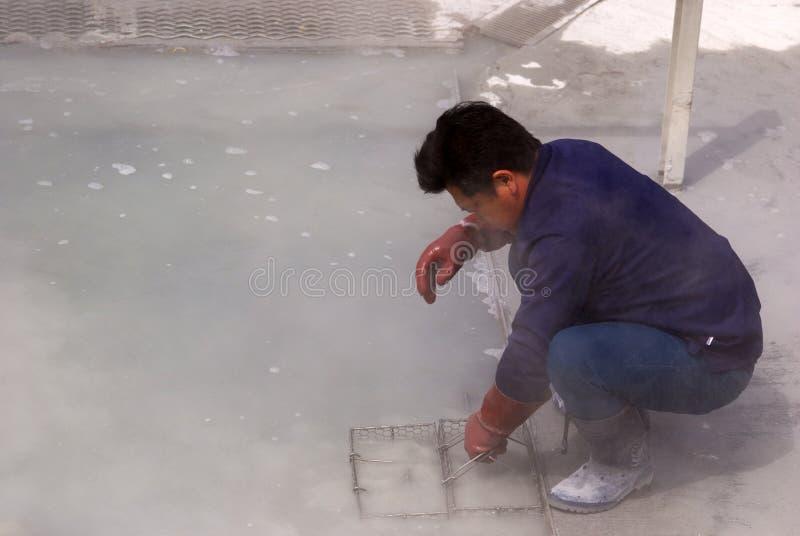 Uova di ebollizione nel vapore solforoso, Owakudani, Giappone immagini stock