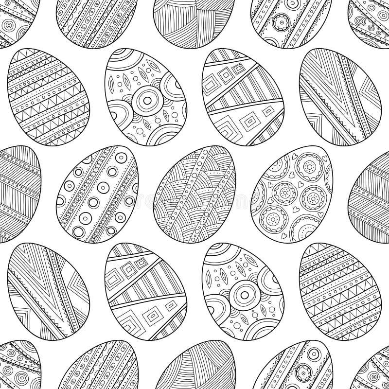 Uova di Pasqua in bianco e nero senza cuciture del modello per il libro da colorare illustrazione di stock