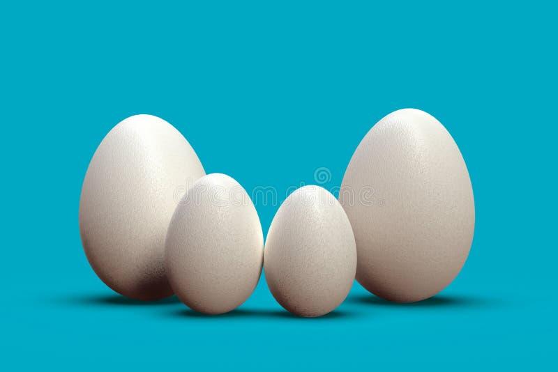 Uova di Pasqua come famiglia di quattro, su fondo variopinto royalty illustrazione gratis