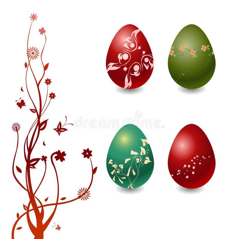 Uova di Pasqua Con gli elementi floreali illustrazione vettoriale