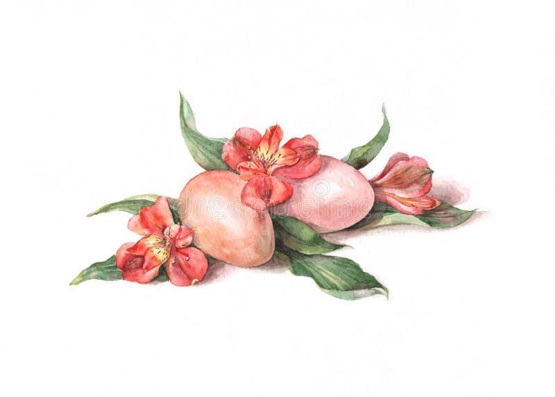 Uova di Pasqua Con i fiori illustrazione di stock