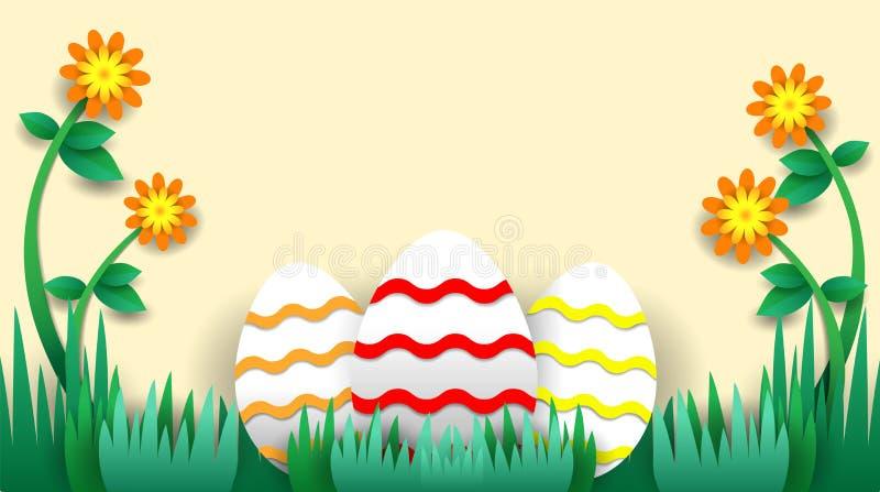 Uova di Pasqua con i fiori e l'erba fotografie stock