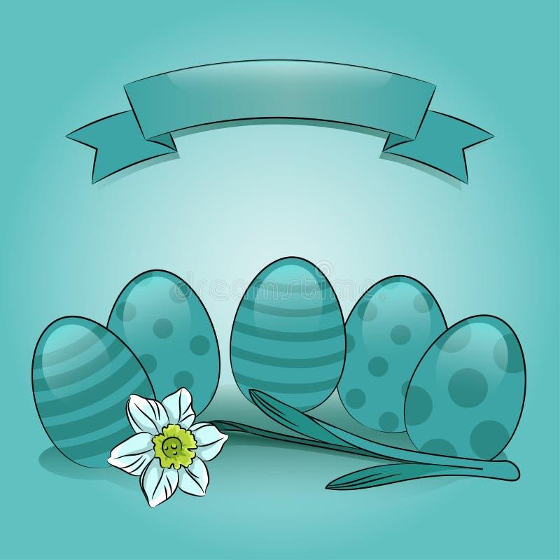 Uova di Pasqua con il narciso e l'insegna illustrazione di stock