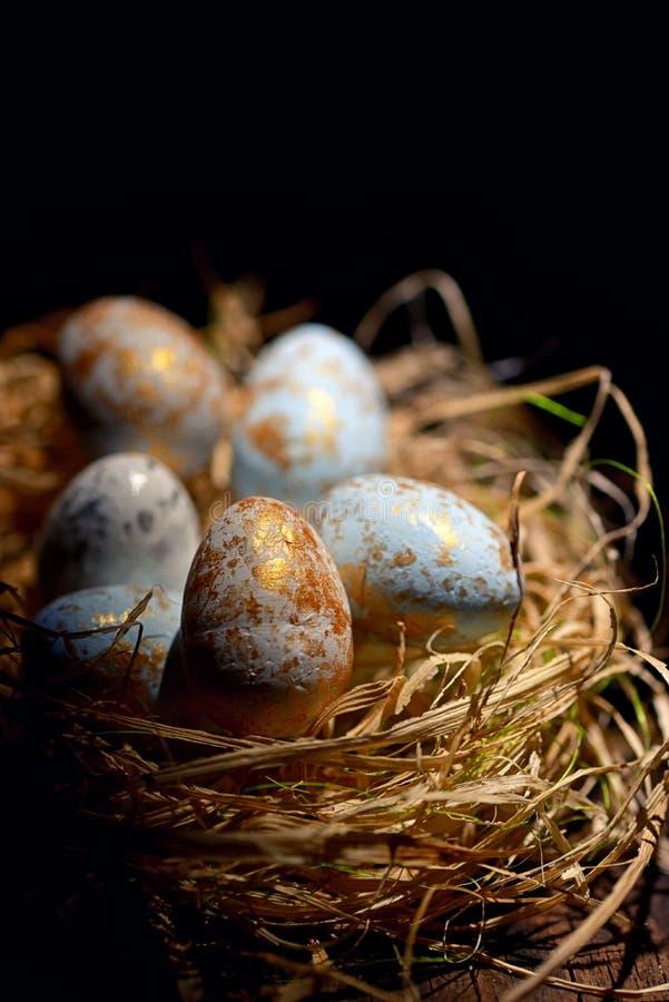 Uova di Pasqua decorative in nido fotografie stock libere da diritti