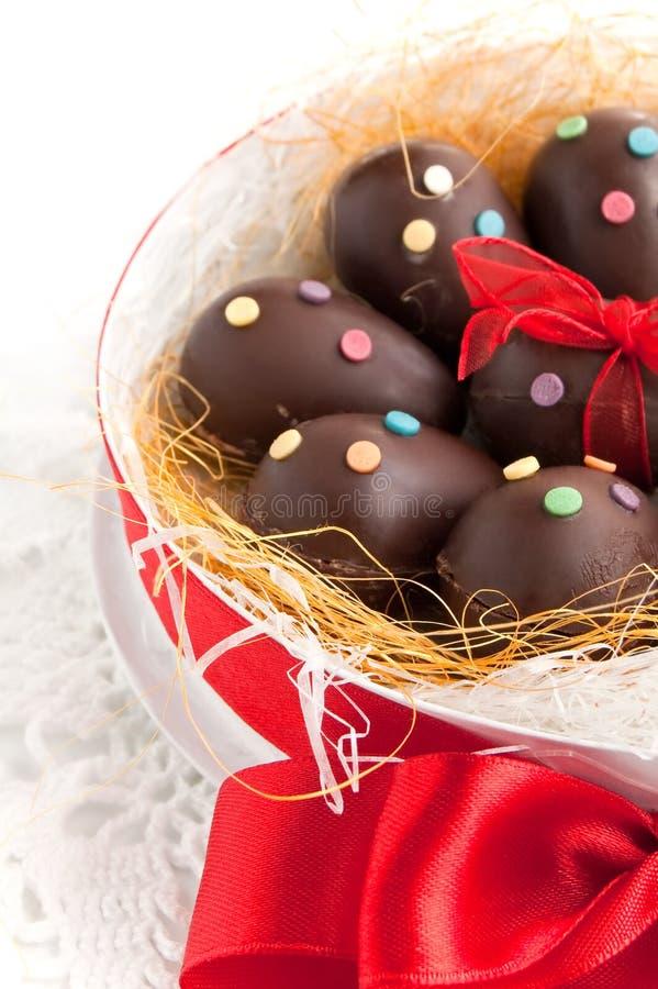 Uova di Pasqua Del cioccolato fotografia stock libera da diritti