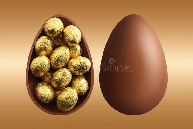 Uova di Pasqua del cioccolato sul fondo dell'oro immagine stock libera da diritti