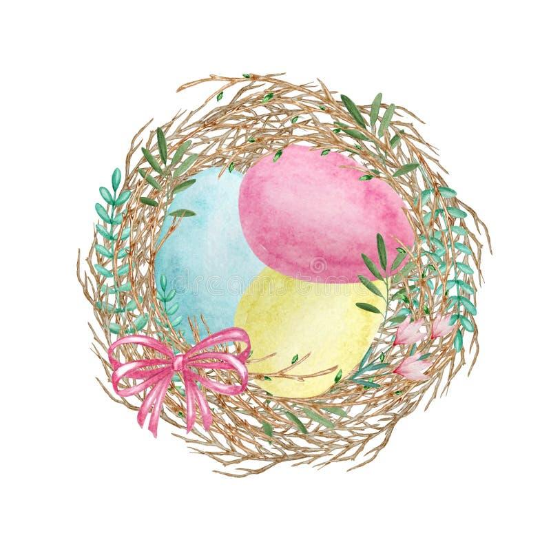 Uova di Pasqua dell'acquerello nel nido illustrazione vettoriale