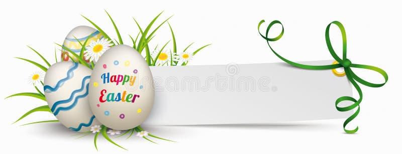 Uova di Pasqua di carta del nastro di verde dell'insegna royalty illustrazione gratis