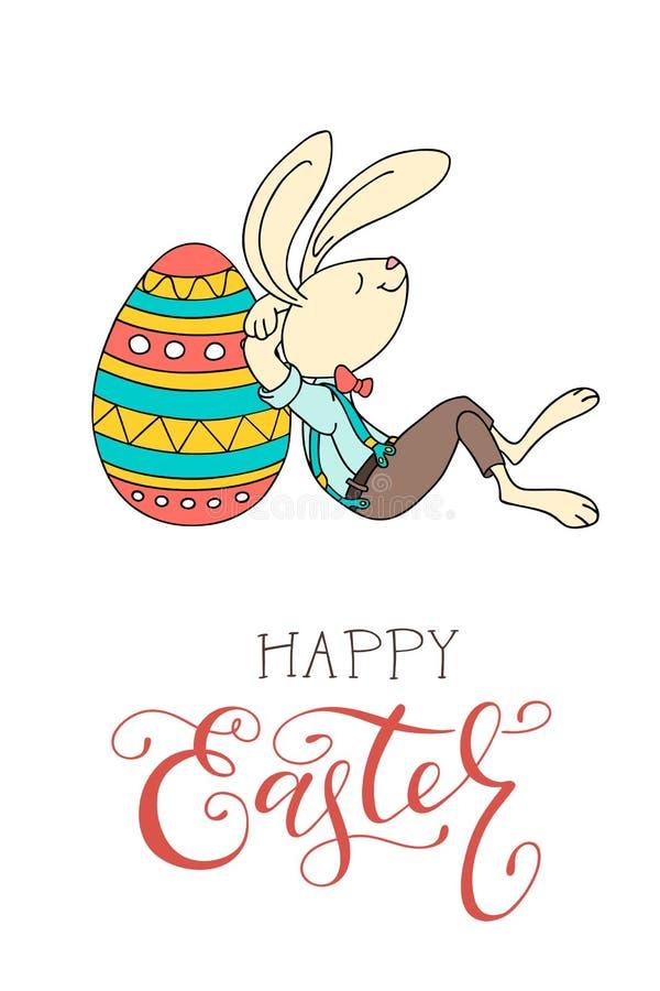 Uova di Pasqua disegnate a mano, coniglio di divertimento e testo scritto a mano felice illustrazione vettoriale
