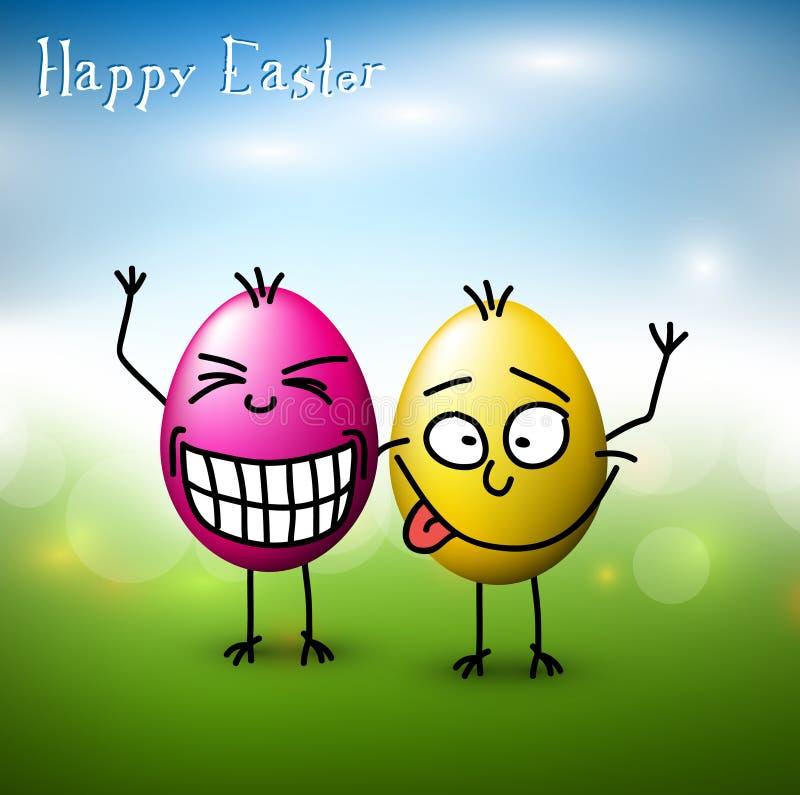 Uova di Pasqua divertenti di vettore - scheda di pasqua felice illustrazione vettoriale