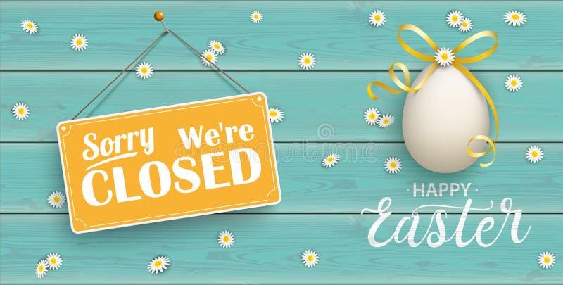 Uova di Pasqua dorate felici Daisy Wooden Closed Turquoise Header royalty illustrazione gratis