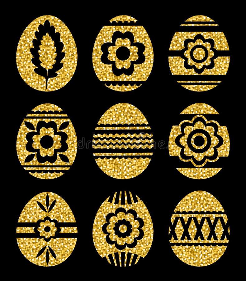 Uova di Pasqua dorate isolate su fondo nero Uova di Pasqua di festa decorate con i fiori Stampi la progettazione, l'etichetta, l' illustrazione di stock