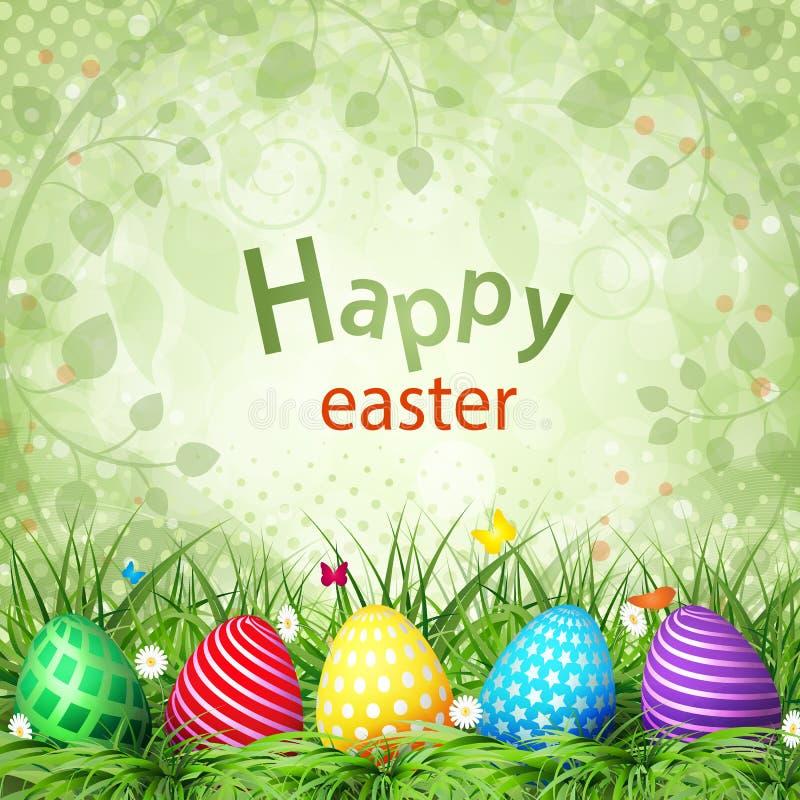 Uova di Pasqua dorate su un fondo di legno illustrazione di stock