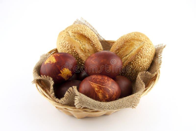 Uova di Pasqua e panini immagine stock libera da diritti