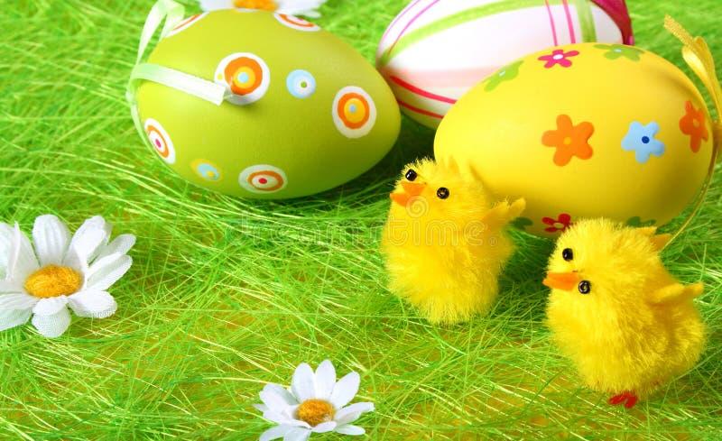 Uova di Pasqua e pollo immagini stock