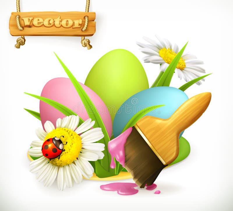 Uova di Pasqua e spazzola con pittura Innesta l'icona royalty illustrazione gratis
