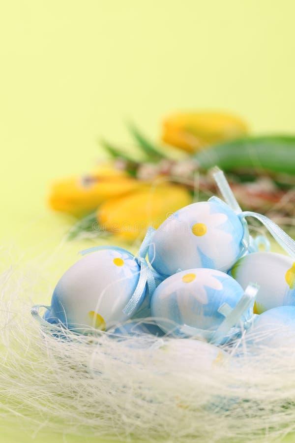 Uova di Pasqua e tulipani Blu immagine stock libera da diritti