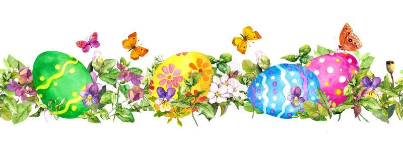 Uova di Pasqua in erba fresca, fiori della molla con le farfalle Banda senza cuciture orizzontale del confine dell'acquerello illustrazione di stock