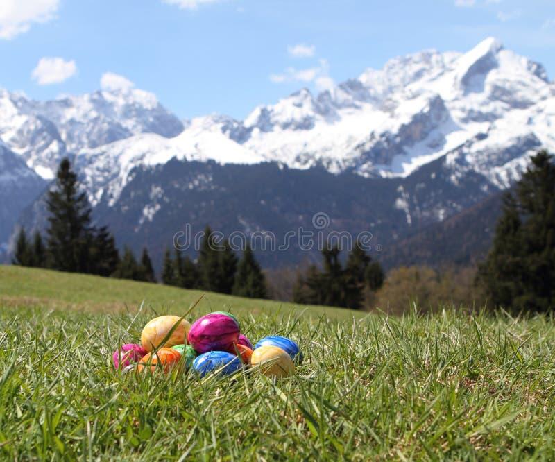Uova di Pasqua in erba nelle montagne immagine stock libera da diritti