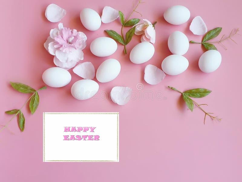Uova di Pasqua felici bianche con il petalo di rose su fondo rosa immagini stock libere da diritti