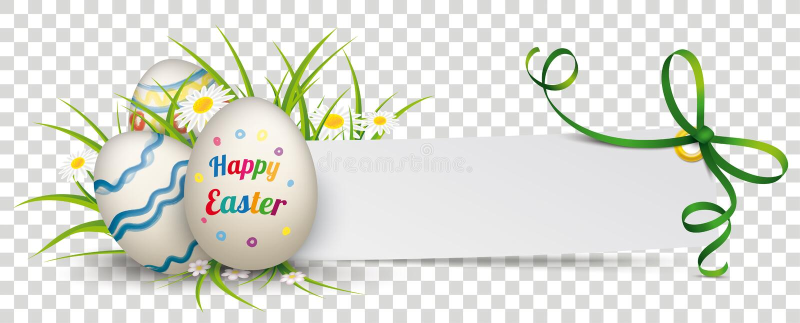 Uova di Pasqua felici dell'insegna del nastro di carta di verde illustrazione vettoriale