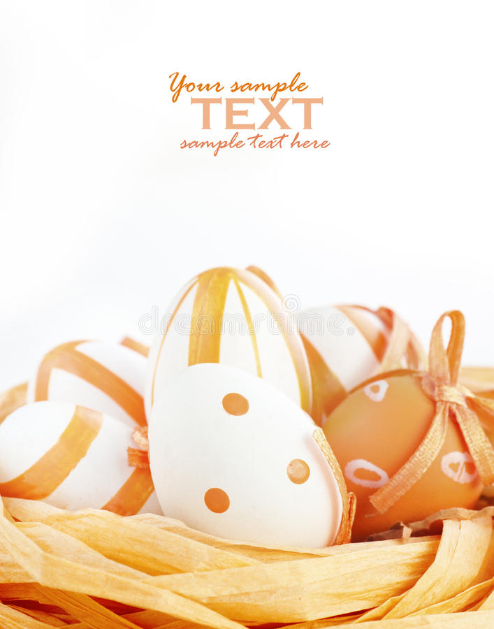 Uova di Pasqua Nei toni arancioni immagine stock