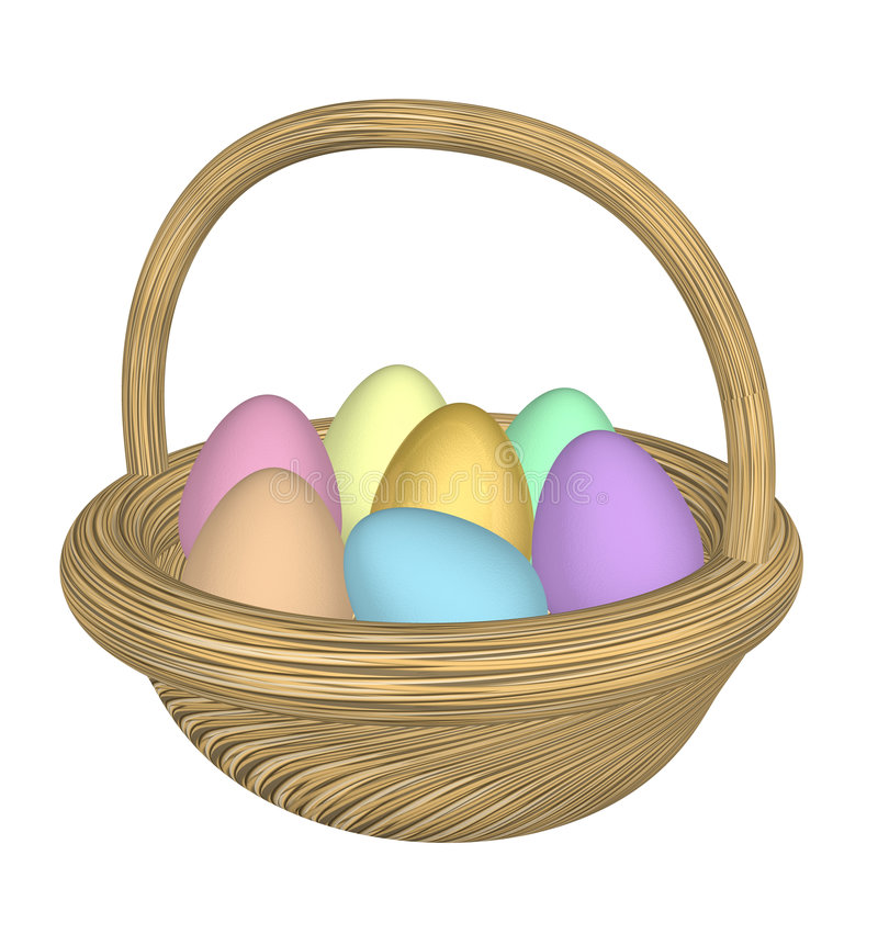 Download Uova Di Pasqua Nel Cestino Della Paglia Illustrazione di Stock - Illustrazione di pastello, felice: 3889145