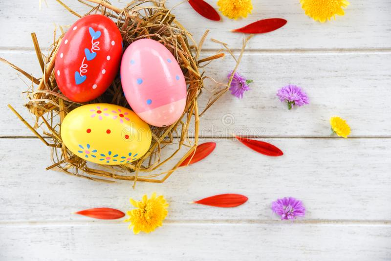 Uova di Pasqua nella decorazione del nido con il petalo variopinto dei fiori su fondo bianco fotografia stock libera da diritti