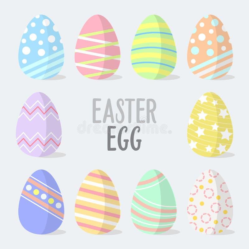 Uova di Pasqua piane di vettore di progettazione Icone delle uova di Pasqua Illustrazione di vettore Uova di Pasqua per le vacanz illustrazione vettoriale