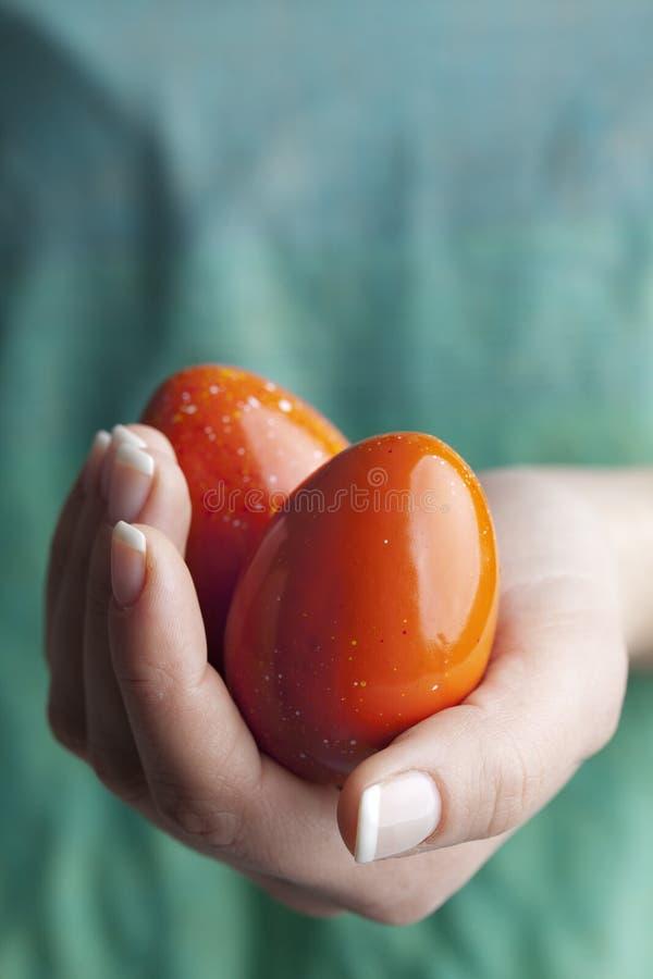 Uova di Pasqua rosse fotografie stock libere da diritti