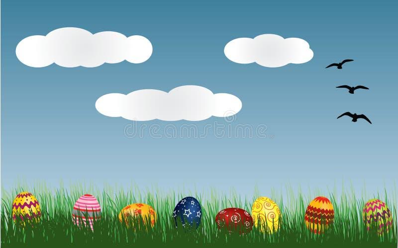 Uova di Pasqua Su erba immagine stock libera da diritti