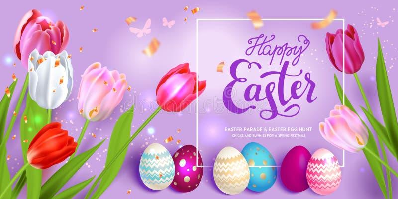 Uova di Pasqua su fondo viola royalty illustrazione gratis