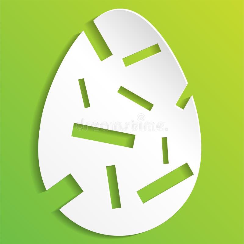 Uova di Pasqua Su priorità bassa bianca Illustrazione di un uovo di Pasqua decorato con fondo verde tagli l'uovo di Pasqua della  illustrazione vettoriale