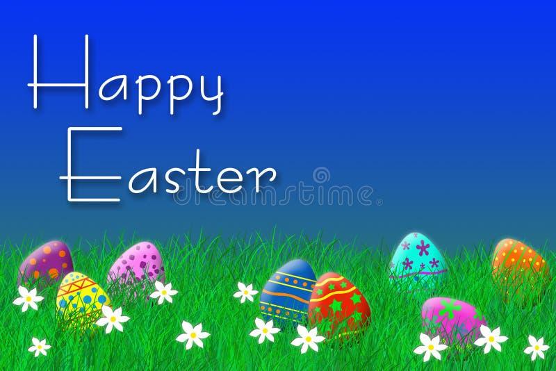 Uova di Pasqua variopinte che risiedono nell'erba sotto un cielo blu fotografia stock libera da diritti