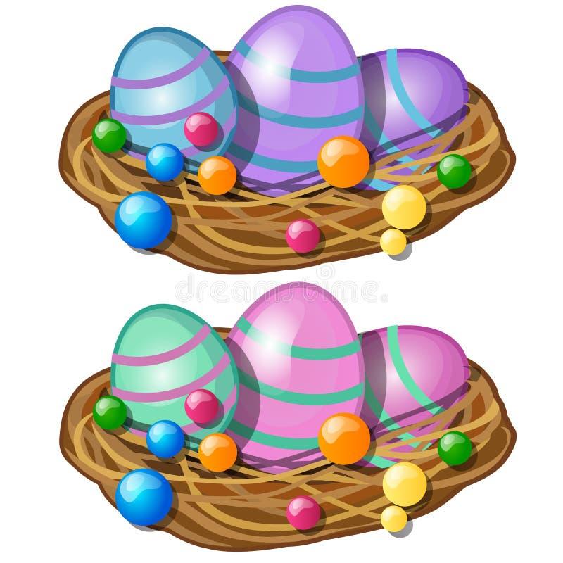 Uova di Pasqua variopinte con il modello delicato nel canestro della paglia Simbolo e decorazione per la festa Illustrazione di v illustrazione vettoriale