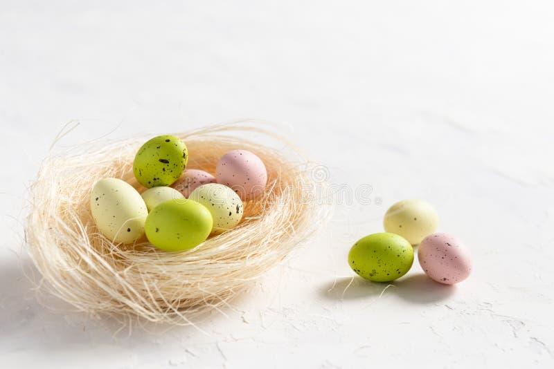 Uova di Pasqua variopinte in nido su fondo bianco, spazio per testo Vista laterale, carta di pasqua, concetto dell'insegna fotografie stock libere da diritti