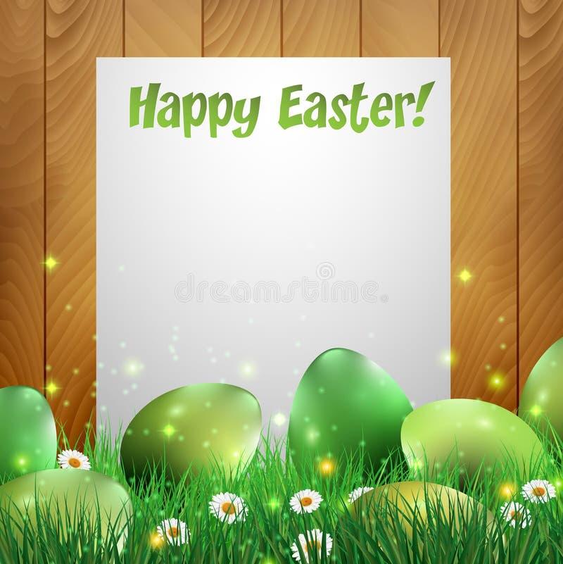 Uova di Pasqua verdi con un fondo di legno e un Libro Bianco royalty illustrazione gratis