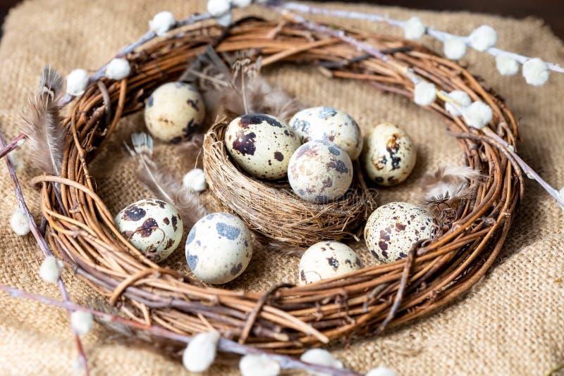 Uova di quaglia, piume, rami del salice su una tavola di legno Effetto d'annata immagini stock