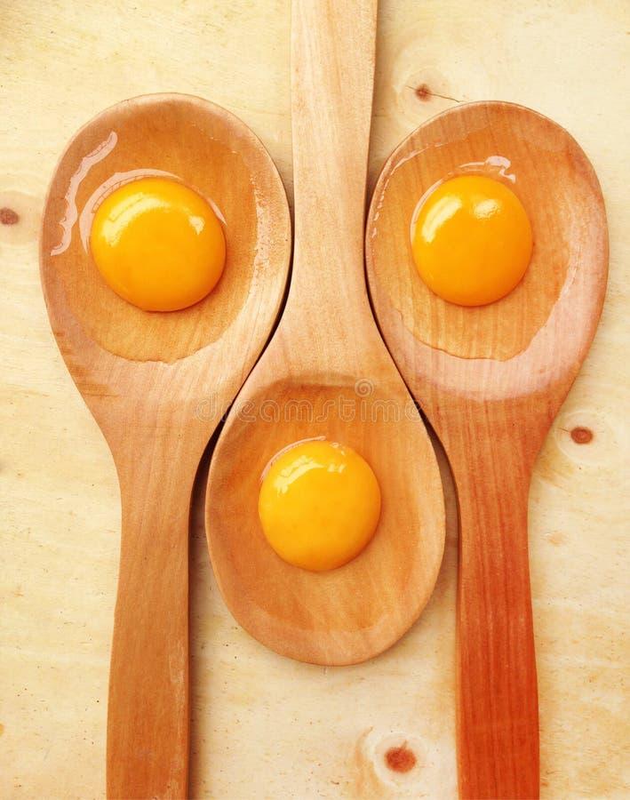 Uova di York sulla siviera di legno fotografie stock libere da diritti