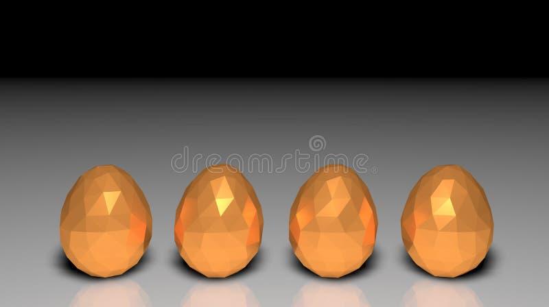 Uova dorate poligonali basse di Pasqua poli quattro ombre leggere immagine stock
