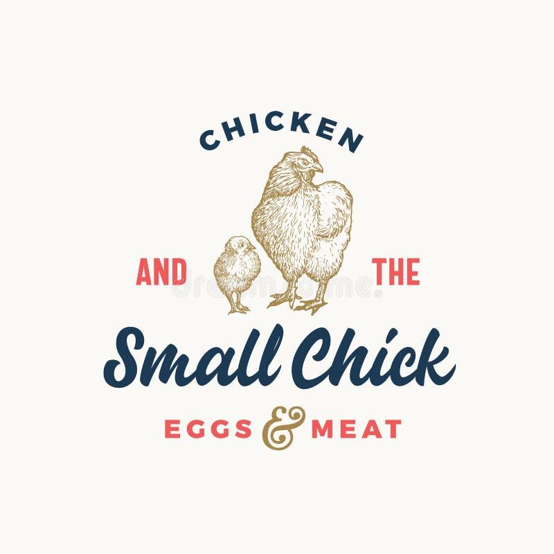 Uova e simbolo o Logo Template astratto di vettore del pollame fresco segno, Pollo disegnato a mano di schizzo con il piccolo pul royalty illustrazione gratis